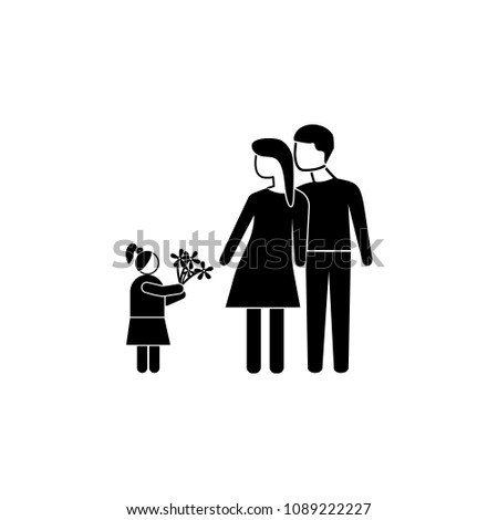 the child gives flowers to parents icon. Element of mother day for mobile concept and web apps. Detailed the child gives flowers to parents icon can be used for web and mobile on white background