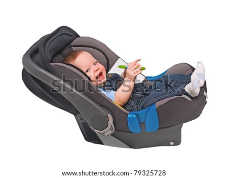 The Child In An Automobile Armchair On White 79325728
