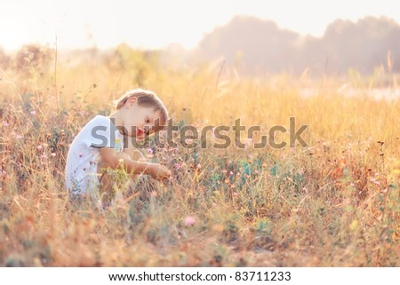 The child in the field during a sunset