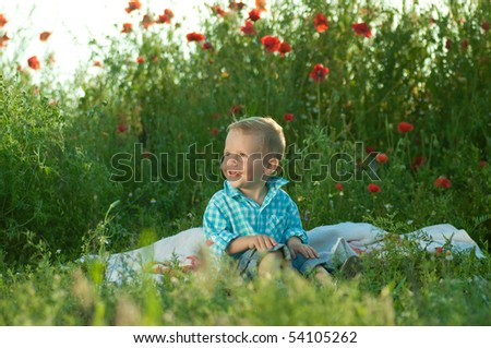 The child in the field with colours