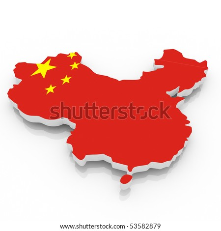 The China country  map on a white background. Clipping path included.