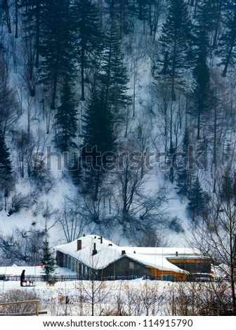 The Chinese characteristic farmhouse snowscape