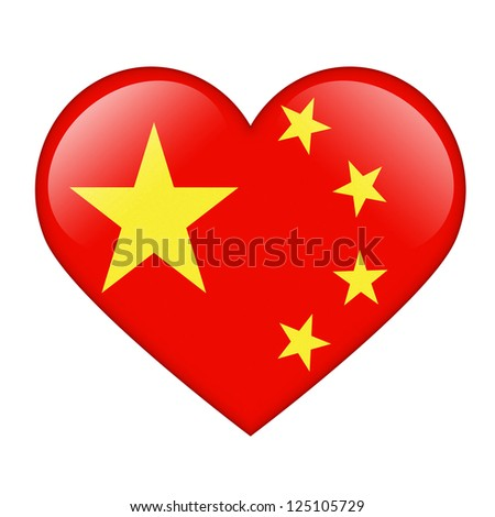 The Chinese flag in the form of a glossy heart