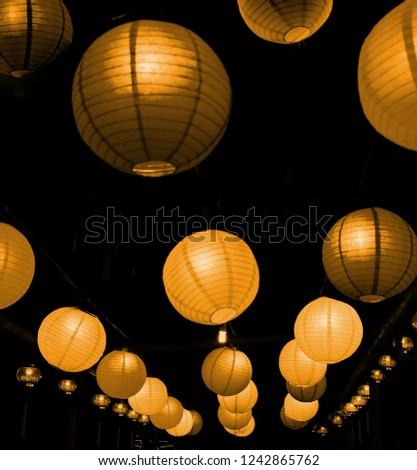 The Chinese lanterns are symbolic to their religious and cultural backgrounds / Golden Paper Lanterns / Often displayed at Chinese New Year, Moon Festival and Lantern Festival