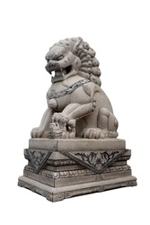 The Chinese lion (Beijing Lion) is carved from Granite stone isolated on a white background with clipping path.