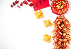 The Chinese new year festival, Top view flat lay happy Chinese new year or lunar new year decorations celebration with copy space on white background (Chinese character