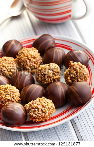 the chocolate pralines in plate