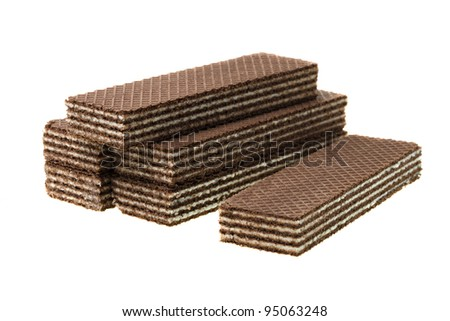 The chocolate wafers isolated on a white background with a white dairy stuffing
