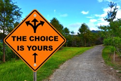 The choice is yours, orange road sign.