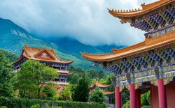 The Chongsheng Temple And The Three-Pagoda,Built in AD 824-859, it is a famous ancient building.Dali City, Yunnan Province, China