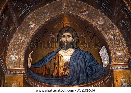 The Christ Pantokrator. Cathedral-Basilica of Monreale, is a Roman Catholic church in Monreale, Sicily, southern Italy. - stock photo