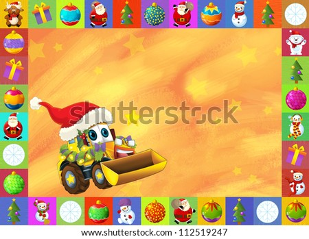 The christmas card - happy illustration for the children - cars - vehicles