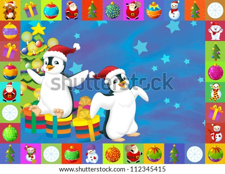 The christmas card with clear background - illustration for the children