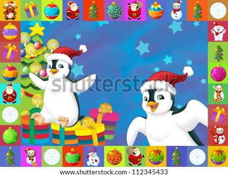 The christmas card with clear background - illustration for the children - stock photo