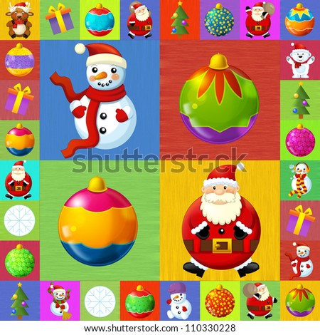 The christmas illustration - squares - stylish - elegant - good for wrapping - advertisement - great presentation for children 2