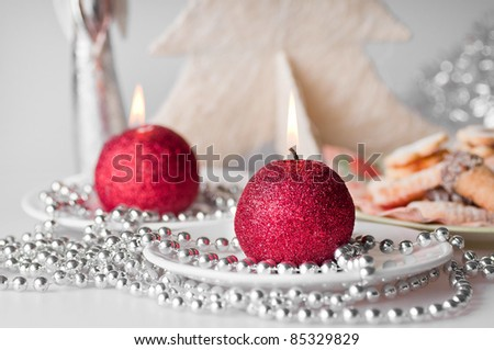 The christmas still life - Christmas cookies and candle.