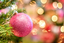The Christmas tree is the decorated evergreen coniferous tree with multicolored balls and ornamental light.