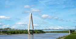 The Christopher S Bond bridge across the Missouri River in Kansas City, Missouri seen from the riverfront park