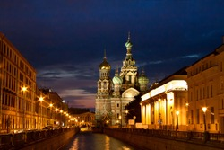 The church by the canal. White nights, Saint-Petersburg, Russia