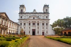 The church of Divine Providence ( Saint Cajetan) of Old Goa, mimicking the St. Peter's Basilica of Rome. Taken in India, August 2018.