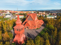 The church of Kiruna, Sweden. Built in Gothic Revival style at the beginning of the XIX century, Kiruna, the northernmost town in Sweden, province of Lapland, summer sunny day
