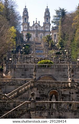 The Church of Nossa Senhora dos Remedios (Sanctuary Nossa Senhora dos Remedies), Lamego, Portugal.  Vertical view.