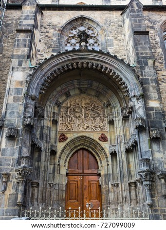 The Church of Our Lady Before Tyn entrance located on Old Town section of Prague, The Czech Republic. #727099009