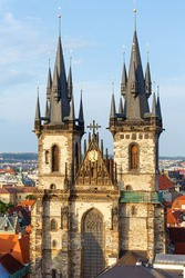 The Church of Our Lady before Tyn, from Old Town Square  (Stare Mesto,  Prague, Czech Republic, build in 15th century). Building completed in 1511y.