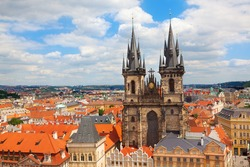The Church of Our Lady before Tyn. The Old Town Square Prague Czech Republic.