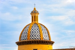 the church of Praiano and its tiled dome on Amalfi coast