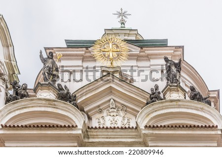 The Church of Saint Nicholas (Saint Nicholas Cathedral) at Old Town Square, Prague, Czech Republic. Built between 1704 - 1755 it is described as the most impressive example of Prague Baroque.