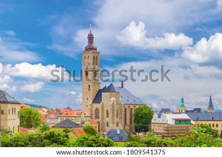 The Church of St James catholic church building with clock tower close-up in Kutna Hora historical Town Centre, Central Bohemian Region, Czech Republic Foto stock ©