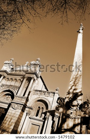 The church of the Madeleine in Aix-en-Provence, France. Digital artwork, Sepia - copy space.