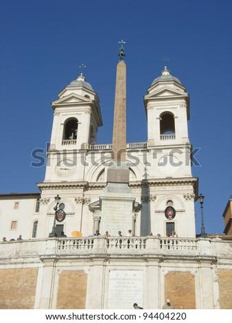 The church of the Santissima Trinita dei Monti and Spanish Steps, Rome, Italy