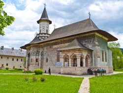 The church of the Sucevita orthodox monastery, located in the Bukovina region of Romania, with famous exterior frescoes, UNESCO Heritage.