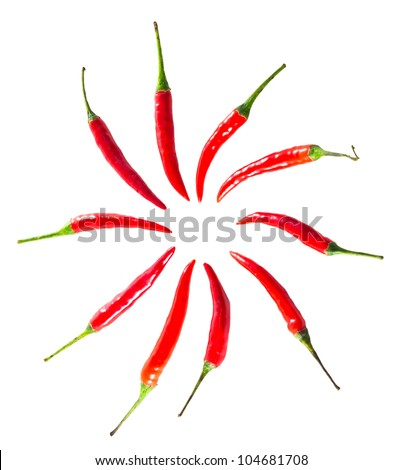 the circle chillies on white background