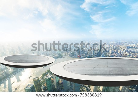 The circular platform suspended above the financial district of lujiazui is in Shanghai #758380819