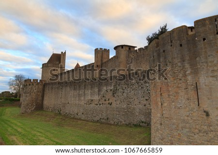 The Citadel in Carcassonne, a medieval fortress in the french department of Aude #1067665859