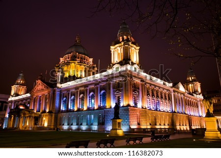 The city center of Belfast North Ireland, in the night