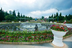 The City flower garden in Dalat, Vietnam. Vacation,holiday concept.