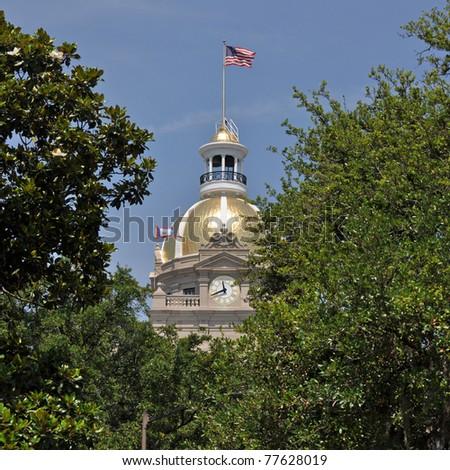 The City Hall building in downtown Savannah, Georgia.