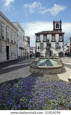 The city hall in the center of Ponta Delgada at the island of Sao Miguel which is a part of the Azores
