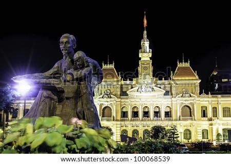 The City Hall of Ho Chi Minh City in Saigon, Vietnam at night