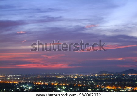The city lights at dusk on the view point #586007972