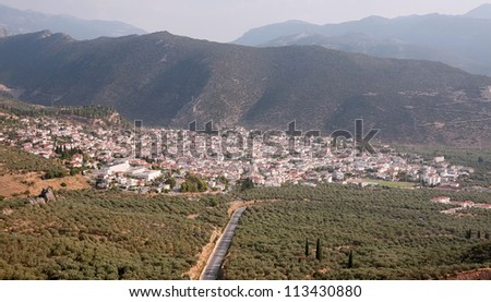 The city of Amfissa (central Greece), as seen from above