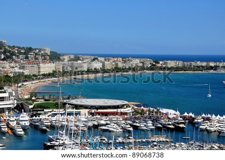 The city of Cannes with its famous croisette and marina