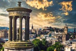 The city of Edinburgh in Scotland at sunset