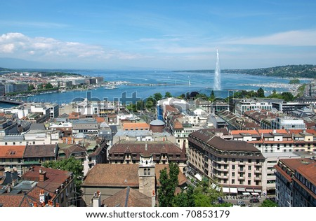 The city of Geneva, the Leman Lake and the Water Jet, in Switzerland, Europe, general and aerial view