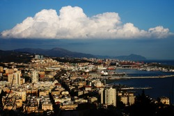 The city of Genoa seen from the west side, and precisely from the heights of pegli, with the clouds that make a strange effect.