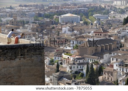 The city of Granada in Spain seen from the Alhambra.The Alhambra is an UNESCO World Heritage site